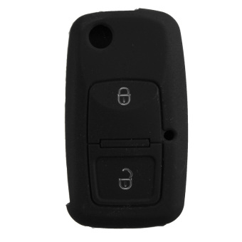 2 Buttons Silicone Car Key Cover For VW Passat Polo Golf Touran Bora Jetta Cady Touran Sharan Transporter Black - Intl