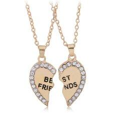 2 Pcs Friendship Fashion Jewelry Rhinestone Gold Alloy Broken Heart Best Friends Pendant Necklace Best Gift For Women (Intl)