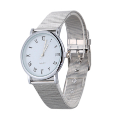 2015 New Fashion Women Plated Stainless Steel Quartz Wristwatch Silver