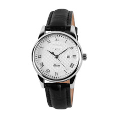2016 Best Quality 9058 Couple's Quartz Wristwatches Fashion Luxury Brand Genuine Leather Strap Business Watch (Silver)