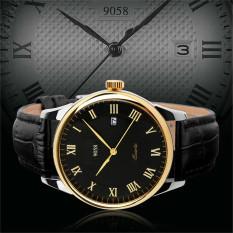 2016 High Quality 9058 Couple's Quartz Wristwatches Fashion Luxury Brand Genuine Leather Strap Business Watch (Yellow)