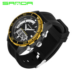 2016 High Quality SANDA 003 Multifunctional Dual Time Display Sports Waterproof Electronic Watch (Gold)