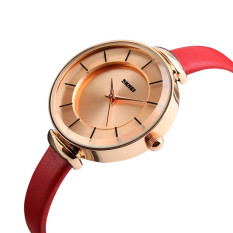 2016 High Quality SKMEI 1184 Women 'Ultra-thin Simple Casual Wristwatch Golden Shell (Red)