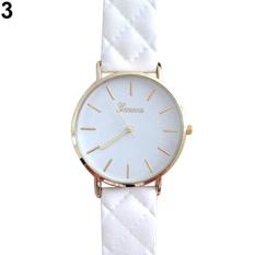 2016 New 2015 New Design Men's Women's Minimalism Wrist Watch Geneva Checkers Faux Leather Quartz Analog W2E8D - Intl