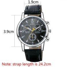 2016 New Fashion Men's Leather Military Sport Top Quartz Wrist Watch Black (Intl)