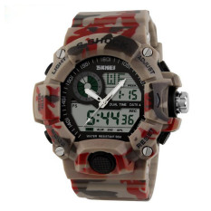 2016 Quartz Digital Camo Watch Men Dual Time Man Sports Watches Men Skmei S Shock Military Army Reloj Hombre LED Wristwatches (Camouflage Red)