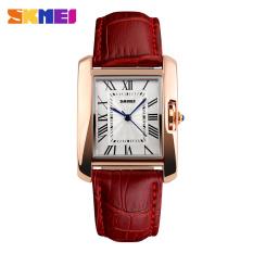 2016 Skmei Brand Elegant Retro Watches Women Fashion Luxury Quartz Watch Clock Female Casual Leather Women's Wristwatches (Red)