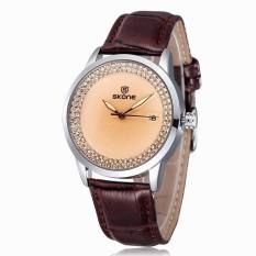 2016 SKONE Brand Popular Watches Women Fashion Rhinestone Dress Watch Casual Leather Strap Quartz Wristwatches (Coffee) (Intl)