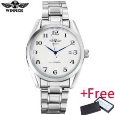 2016 WINNER famous brand men fashion automatic self wind watches white dial transparent glass silver case