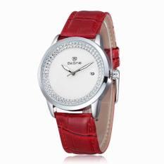 2018 SKONE Brand Popular Watches Women Fashion Rhinestone Dress Watch Casual Leather Strap Quartz Wristwatches (Red) (Intl)