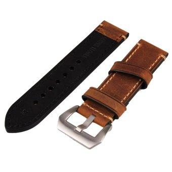 24mm Width Brown Genuine Leather Wristwatch Band Men Watch Strap Watchband - intl