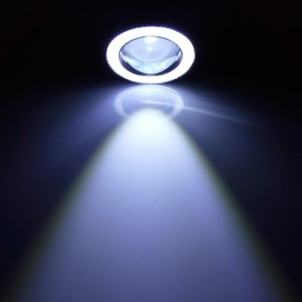 2pcs 3.5inch white Waterproof Projector LED Fog Light With LensHalo Angel Eyes Rings COB 30W
