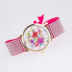 2pcs * Aliexpress hot fashion diamond table cloth leather watch manufacturers spot lady Geneva flowers1- Pink - intl