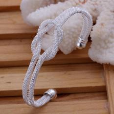 360DSC Delicate Silver Plated Knotted Mesh Design Women's Cuff Bracelet - intl
