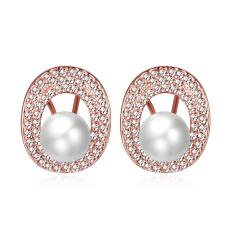 360DSC Rose Gold Plated Pearl with Oval Circle Around Hook Earrings Women Fashion Jewelry - intl
