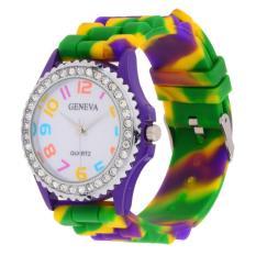 360DSC Women's Rainbow Silicone Band Quarts Wristwatch Purple - intl