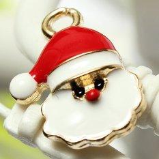 5pcs Gold Enamel Christmas Xmas Gifts Snowflake Charm Pendants Jewelry Findings Big Santa Claus - Intl