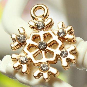 5pcs Gold Enamel Christmas Xmas Gifts Snowflake Charm Pendants Jewelry Findings Snowflake - Intl