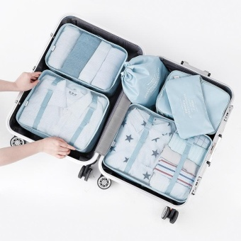 6 Set Packing Cubes Compression Travel Luggage Organizer Pouch - Blue - intl
