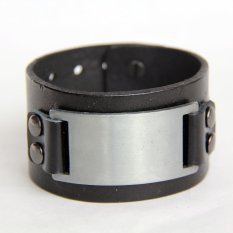 "9"" Fashion Mens Womens Genuine Leather Bracelet Punk Cool Cuff Bangle DL200501 (Black)"