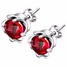 925 Silver Men & Women Unisex Cubic Zircon Earrings Simple Shiny Cyclone Flower Studs Earring with Gift Box(Red) - intl