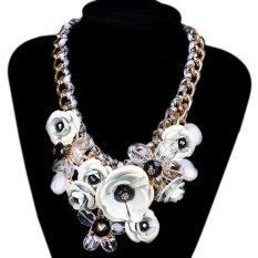 TOSHOON RED Women's Elegant Bauhinia Flower Acrylic Diamond Wedding Chain Choker Necklace (White)