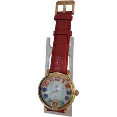 Alexandre Christie 141239 Analog Model Permata Tali Kulit Jam Tangan Wanita - Rose Gold Kombinasi Merah