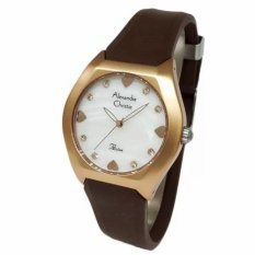 Alexandre Christie AC 2386 Casual - Jam Tangan Wanita - Blue - Strap Rubber - Brown Rose Gold - Model Casual - Anti Air (Rose)