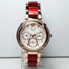 Alexandre Christie AC2655 Jam Tangan Wanita Stainless Ceramic Rosegold Merah