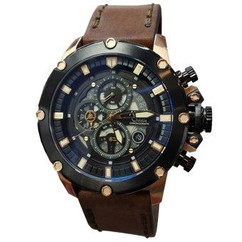 Alexandre Christie AC6416MC Jam Tangan Pria Strap Leather Hitam Rose Gold