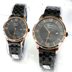 Alexandre Christie - Jam Tangan Couple - Stainless Steel - AC 8503 Black Gold Couple