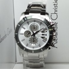Alexandre Christie Jam Tangan Pria Alexandre Christie AC6455MC Chronograph Silver Stainless Steel Dial White