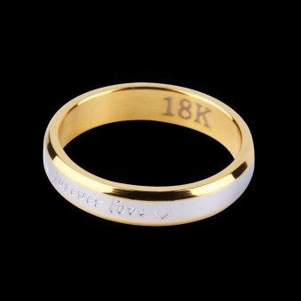 Allwin Fashion Selamanya Cinta Sepasang Kekasih Serasi Baja Jari Cincin Pasangan Cincin Perhiasan (Emas)