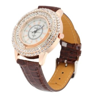 Allwin New Round Women PU Leather Band Simulate Diamond Pearl Quartz Wrist Watch Coffee
