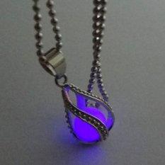Amart Fashion Teardrop Necklace Glow In The Dark Pendant (Purple) - Intl