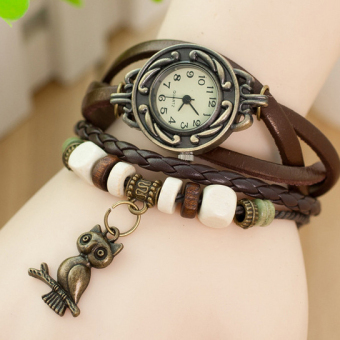 Amart Retro Multilayer Leather Quartz Wristwatch with Bronze Owl Pendant(Brown) - intl