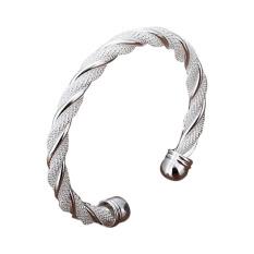 Amart Sterling Silver Twisted Wire Net Opening Adjustable Cuff Bracelet (Silver) - Intl
