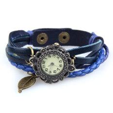 Amart Women Vintage Braided Rope Faux Leather Wrap Quartz Bracelet Wrist Watch Blue - Intl