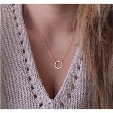 Amefurashi Kalung Lingkaran Hollow Metal Circle Round Chain Pendants Necklace