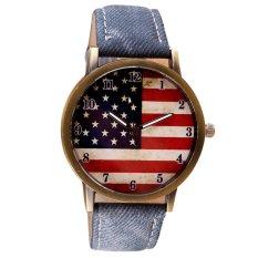 American Flag Pattern Leather Band Analog Quartz Vogue Wrist Watches Dark Blue (Intl)
