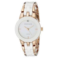 Anne Klein Women's AK / 1610WTRG Diamond Dial Rose Gold-Tone And White Ceramic Bracelet Watch (Intl)