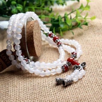 Aotian Natural Red Agate Beads Crystal Bracelet Lucky Transport More Than 108 Men And Women Ring Crystal Jewelry - White + Red + Horn Section