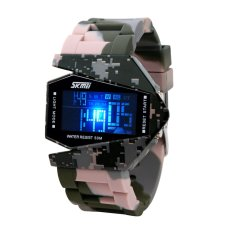 AOXINDA LED Display Jam Tangan Light Digital Sport Water Resist Stealth Fighter Style Wrist Watches With Silicone Strap - Camouflage