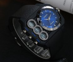 AOXINDA Mens Analog And Digital Dual Time Big Watch With Light, Alarm, Chrono, Water Resistant Jam Tangan - Blue