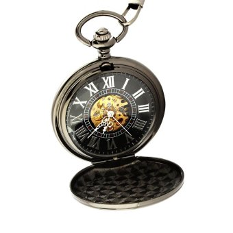 aoyou Men's retro semi-automatic mechanical pocket watch (Black) - intl
