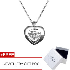 Arche Rhythm Of The Heartbeat Dancing Pendant White Gold Plated 925 Silver Short Necklace Exquisite Elegant Design Jewellery (White)