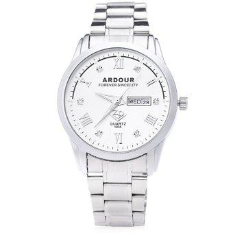 ARDOUR 1835 Male Quartz Watch Artificial Diamond Dial 3ATM Luminous Roman Numerals Display Wristwatch (WHITE)