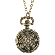 Astar Carved Bronze Quartz Necklace Pendant Chain Clock Pocket Watch Steampunk (Lotus) (Intl)
