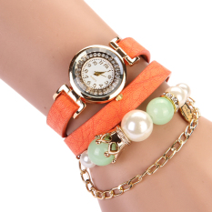 Astar Retro Synthetic Leather Strap Beads Bracelet Wristwatch Women Watches (Orange)