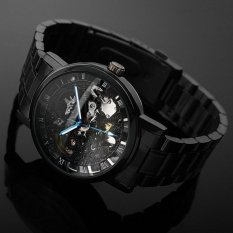 Automatic Mechanical Blue Hands Skeleton Jewelry Men's Wrist Watch (Black)